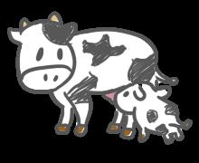 お乳を飲ます母牛