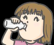 瓶の牛乳を飲む少女のイラスト