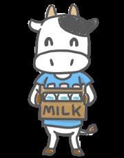 牛乳のカゴを抱える牛さんのイラスト
